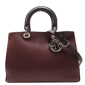 Dior 迪奧 酒紅色拚粉紅色牛皮手提肩背包 Diorissimo  (附活動式小袋) 【BRAND OFF】