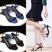 涼鞋女韓版時尚簡約高跟鞋細跟百搭羅馬一字扣公主鞋 格蘭小舖