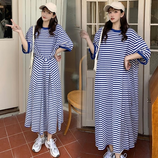 L-4XL胖妹妹大碼洋裝連身裙~大碼胖mm寬松女裝條紋長裙連身裙3F061A衣時尚