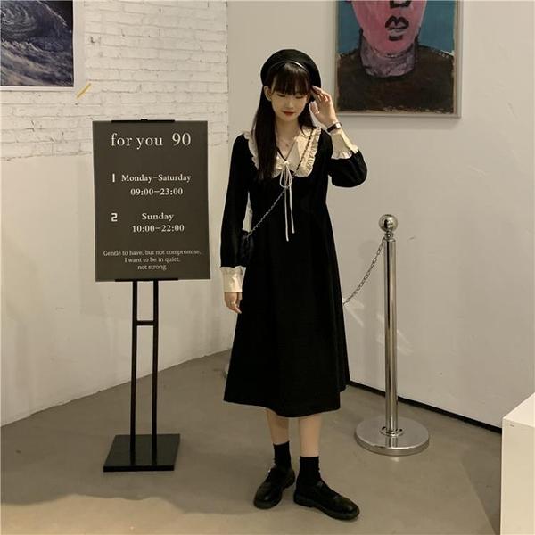 連衣洋裝 大碼連衣裙秋季新款減齡顯瘦遮肚氣質超仙小黑裙中長款【快速出貨】