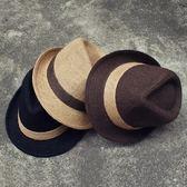 韓版亞麻沙灘休閒帽子夏天男女士草帽 復古黑色禮帽英倫爵士帽潮