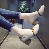 方頭奶奶鞋粗跟單鞋女春2018新款韓版高跟鞋
