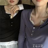 早秋上衣女假兩件拼接黑色長袖T恤ins修身百搭小心機鎖骨打底衫潮