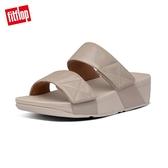 新降66折【FitFlop】MINA IRIDESCENT SLIDES 金屬光澤鞋面寬帶涼鞋-女(復古金)