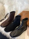 網紅瘦瘦靴子女秋款女鞋新款方頭平底秋冬季馬丁氣質短靴 夏季新品