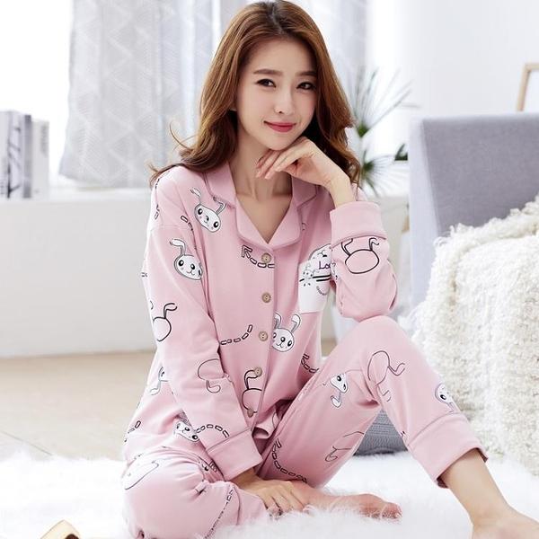 睡衣 春秋季女士純棉長袖可外穿秋冬季月子服產后全棉夏套裝家居服 交換禮物