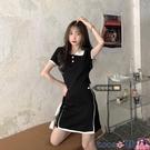 熱賣大碼洋裝 大碼夏裝女韓版撞色POLO領修身顯瘦遮肚短袖T恤裙胖mm針織連身裙 coco