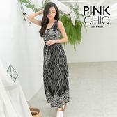 洋裝 花朵連身長裙洋裝 - PINK CHIC - 3310071