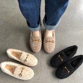 毛毛鞋女2019秋冬新款加絨棉鞋外穿瓢鞋羊羔毛厚底單鞋平底豆豆鞋