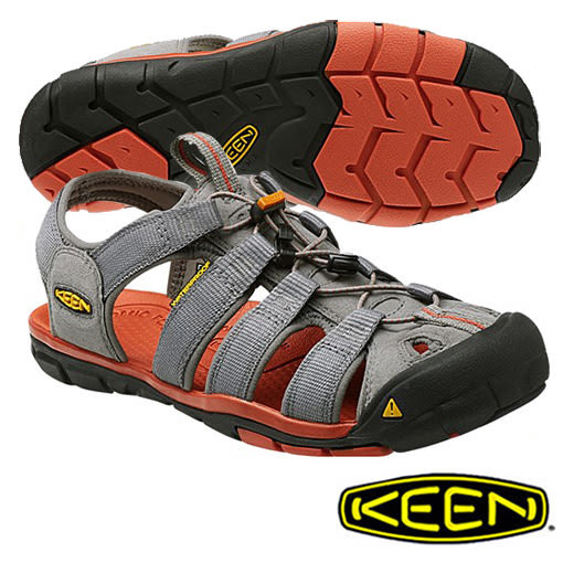 Keen Clearwater CNX 男 輕量護趾水陸兩用鞋 淺灰/橘 1014453