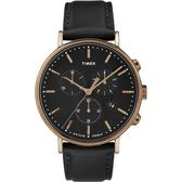 TIMEX 天美時 (TXTW2T11600) 冷光 玫瑰金 三眼計時手錶 /42mm