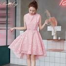 洋裝 滿版蕾絲前短後長無袖洋裝-粉紅色-Ruby s露比午茶