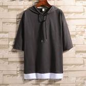 夏季韓版連帽短袖t恤男士衛衣帶帽7七分袖寬鬆上衣服五分中袖潮流-Ifashion