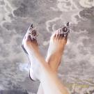 包頭透明涼鞋女細跟水鉆性感氣質水晶高跟鞋...