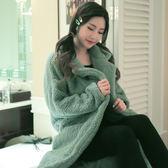 ★依咨戀小舖★冬季女新款睡袍泡泡絨大外套版女中長款寬鬆氣質加厚法蘭絨家居服