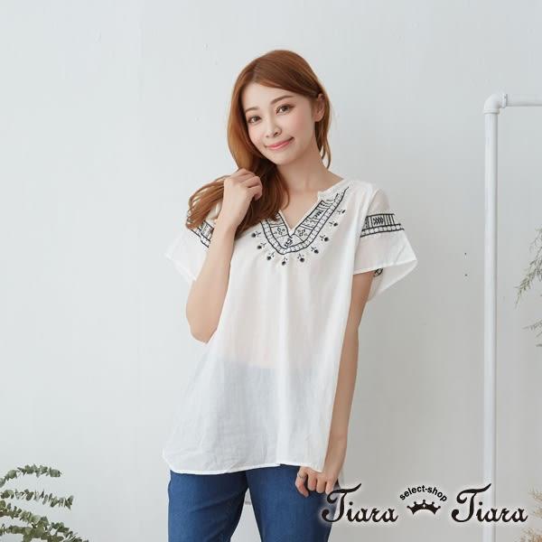 【Tiara Tiara】激安 民俗風緹花開襟短袖上衣(白/藍/條紋)