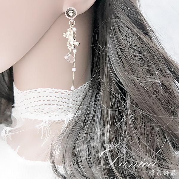 現貨 韓國少女甜美咖啡杯小熊珍珠流蘇不對稱925銀針耳環 夾式耳環 S93667 批發價 Danica 韓系飾品
