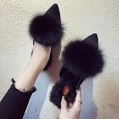 歐洲站毛毛拖鞋女時尚外穿2019秋冬季毛毛鞋尖頭粗跟包頭半拖鞋子