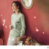 《FA2046》臧芮軒。配色繡花包芯紗針織長袖毛衣/上衣 OrangeBear