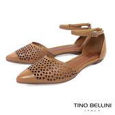 Tino Bellini 巴西進口雷射幾何藝術繫踝平底鞋 _ 淺棕 B83236 歐洲進口款
