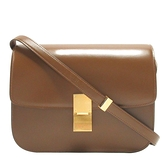 CELINE 賽琳 焦糖棕色牛皮霧金釦肩背包 Medium Classic Bag 【BRAND OFF】