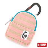 CHUMS 日本 零錢包 附可拆D型環 牡丹條紋粉 CH602019R014