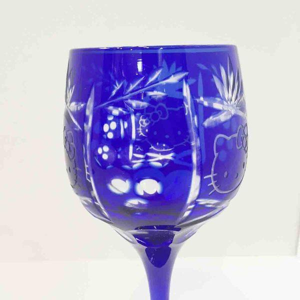 【震撼精品百貨】Hello Kitty 凱蒂貓~玻璃切割高級紅酒杯-藍色
