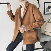 秋季新款日系毛呢短款大衣韓版帥氣時尚休閑百搭男生夾克外套潮流  9號潮人館