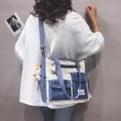 斜背包 大容量帆布包包女2021新款日系學生單肩包ins百搭校園斜挎大包潮【快速出貨八折搶購】