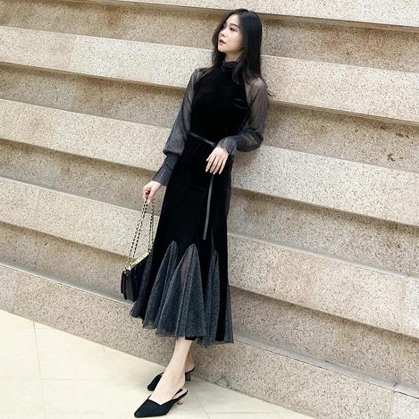 秋裝新款黑色洋裝網紗拼接性感魚尾裙法式復古金絲絨長裙女 雙十二全館免運