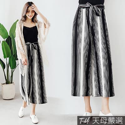 【天母嚴選】黑白條紋配色附綁帶鬆緊腰寬褲(共三色)