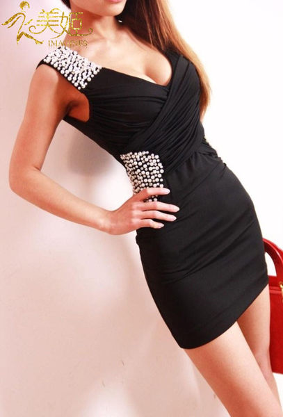 衣美姬♥韓版V領性感低胸洋裝 珠珠裝飾百搭連身裙 夜店包臀顯瘦裙子【現貨】