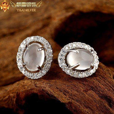 銀飾品手工月光石耳釘橢圓形鑲鑽