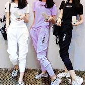 休閒運動套裝女夏天2019新款韓版時尚少女運動服原宿bf短袖兩件套 CJ160 『麗人雅苑』