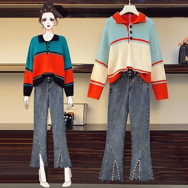 套裝兩件式 2020年新款M-4XL時尚秋冬大碼女裝毛衣兩件套3F116.5566 胖丫