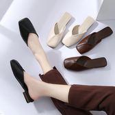 包頭半拖鞋女平底復古百搭外穿方頭包頭【不二雜貨】