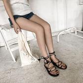 韓國百搭交叉綁帶流蘇平底鞋夾腳圓頭涼鞋羅馬鞋女夏 街頭布衣