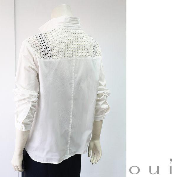 oui 米白方格蕾絲襯衫(大尺碼)