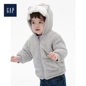 Gap男嬰兒人造羊毛絨連帽鋪棉外套515341-石楠灰色