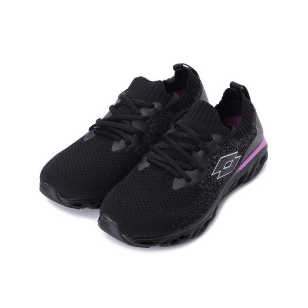LOTTO X SPEED 編織風動襪套跑鞋 黑 LT0800 女鞋 鞋全家福