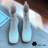 短靴 好感素面前拉鍊方頭低跟短靴(米)* an.an【18-A683-3mi】【現+預】