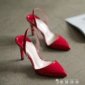 新款韓版后空白色尖頭高跟鞋夏天裸色細跟單鞋中跟包頭涼鞋女紅色  薔薇時尚