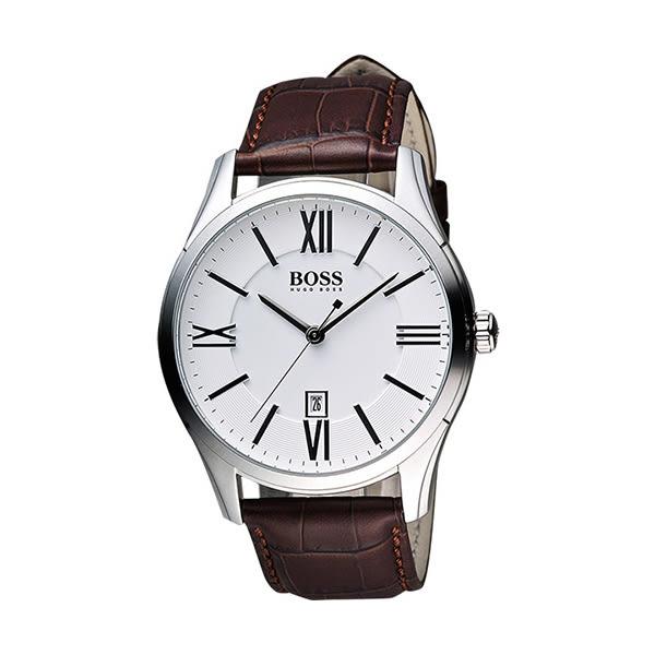 Hugo Boss 羅馬時尚英倫腕錶-銀x咖