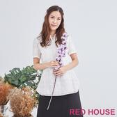 【RED HOUSE 蕾赫斯】格紋透膚襯衫(白色)