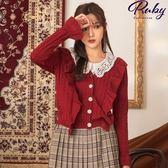 外套 V領荷葉鏤空波浪針織外套-Ruby s 露比午茶