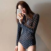 韓國新款長袖拉鏈連體三角性感顯瘦遮肚浮潛溫泉比基尼聚攏泳衣女