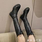 膝上靴 長靴女過膝英倫風2021新款秋冬長筒瘦瘦靴騎士高筒馬丁靴春秋單靴 歐歐
