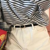 皮帶 韓國細小腰帶pu皮帶女士淺金色橢圓扣頭復古白色褲帶百搭簡約 【新品】