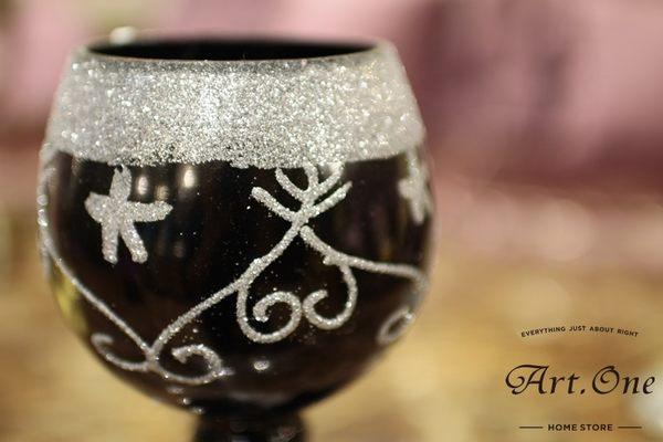 ART ONE 居家設計館 AW118006 黑玫瑰銀砂玻璃酒杯-小