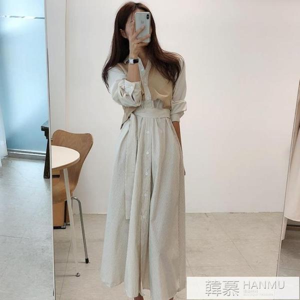 韓國chic法式小眾秋裝單排扣條紋收腰假兩件中長款顯瘦高腰洋裝 夏季新品